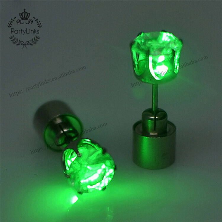 Light Up LED Stud Earrings Glowing Flashing Stainless Steel Earrings Studs Dance Party Unisex Accessories