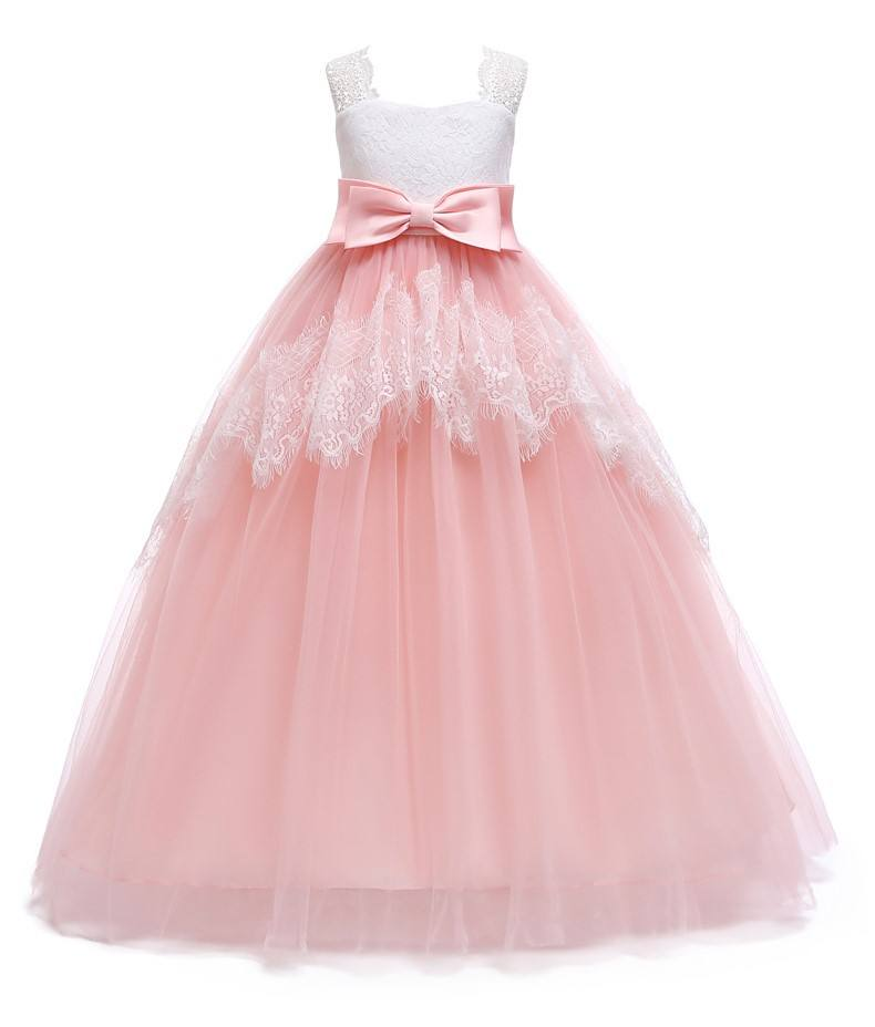 kid online shopping flower party girl princess wedding frock in long pink dress