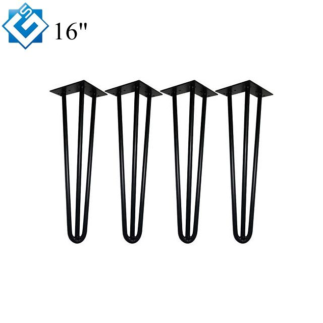 Modern Metal Industrial Diy Wood Furniture 10mm Raw Steel 16 Inch Desk 3 Rods Dining Table 4 x Hairpin Coffee Table Legs