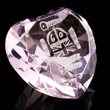 Pink Crystal Glass Heart Gift for Birthday or wedding gift