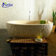Home natural hand carved freestanding bathtub stone yellow solid marble bathtub for sale