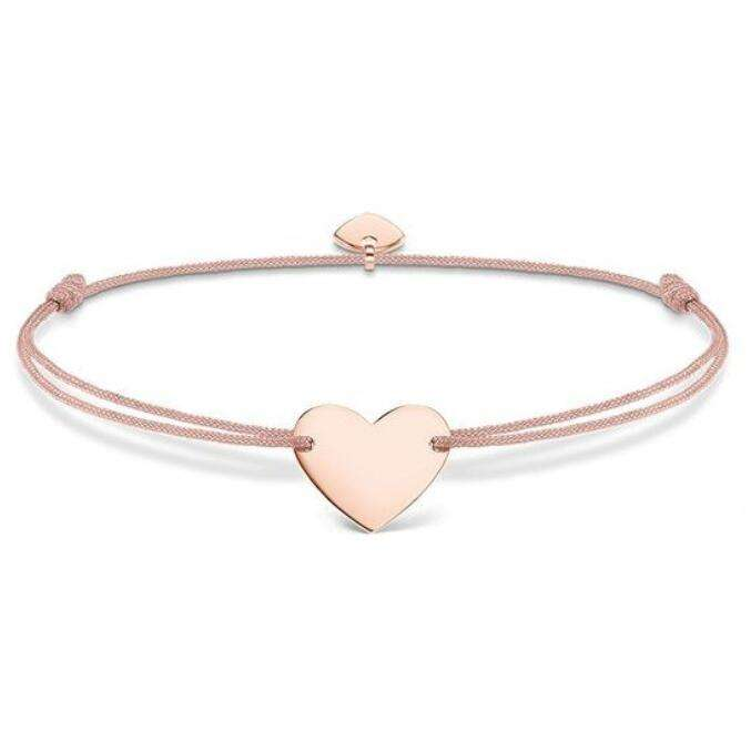 Fashion Personalized Stainless Steel Rose Gold Heart Charm Friendship Jewelry Adjustable Nylon Cord Bracelet