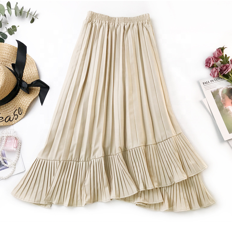 British vintage irregular fishtail skirt with pleated skirt high waist and slim flounce skirt
