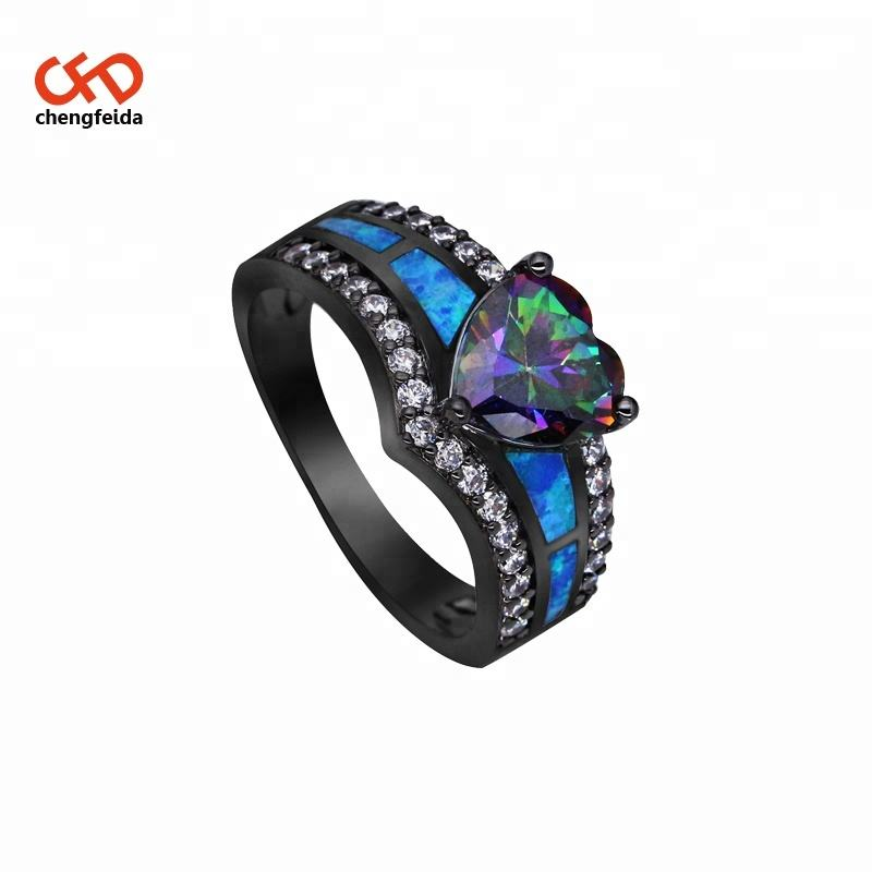 New Design Blue/ multi color Fire Opal Ring Fashion Jewelry Women Black Gold Filled Zircon Rings Size 6 7 8 9 10