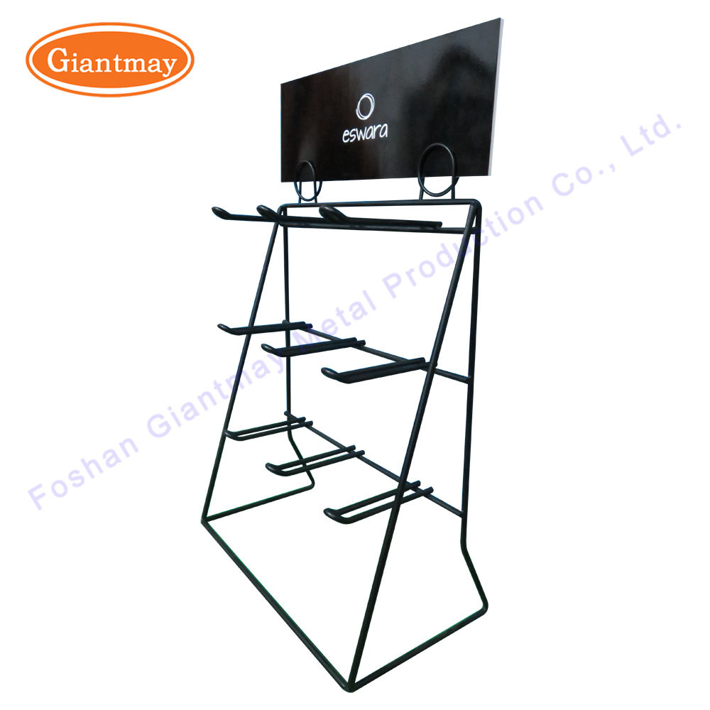 2 row metal shop hair extension display stand holder with hook
