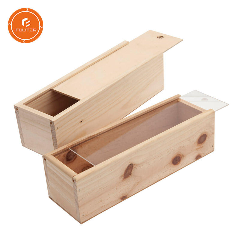 Personalized Custom Wholesale Bulk Cheap Wooden Wine Boxes with Sliding Acrylic Cover