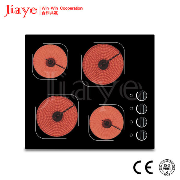 Jiaye carcasa de Metal de cerámica encimera cristal 4 quemador de la placa caliente appiance