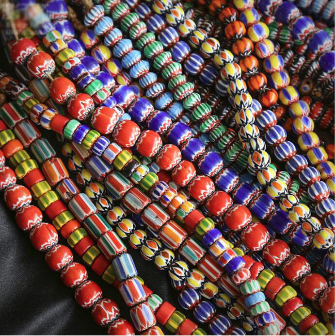 GP0920 Boho Jewelry Supplies Spacer Beads Tribal Nepali glass chevron beads,rustic Opaque multicolor glass Rainbow Spacer Beads