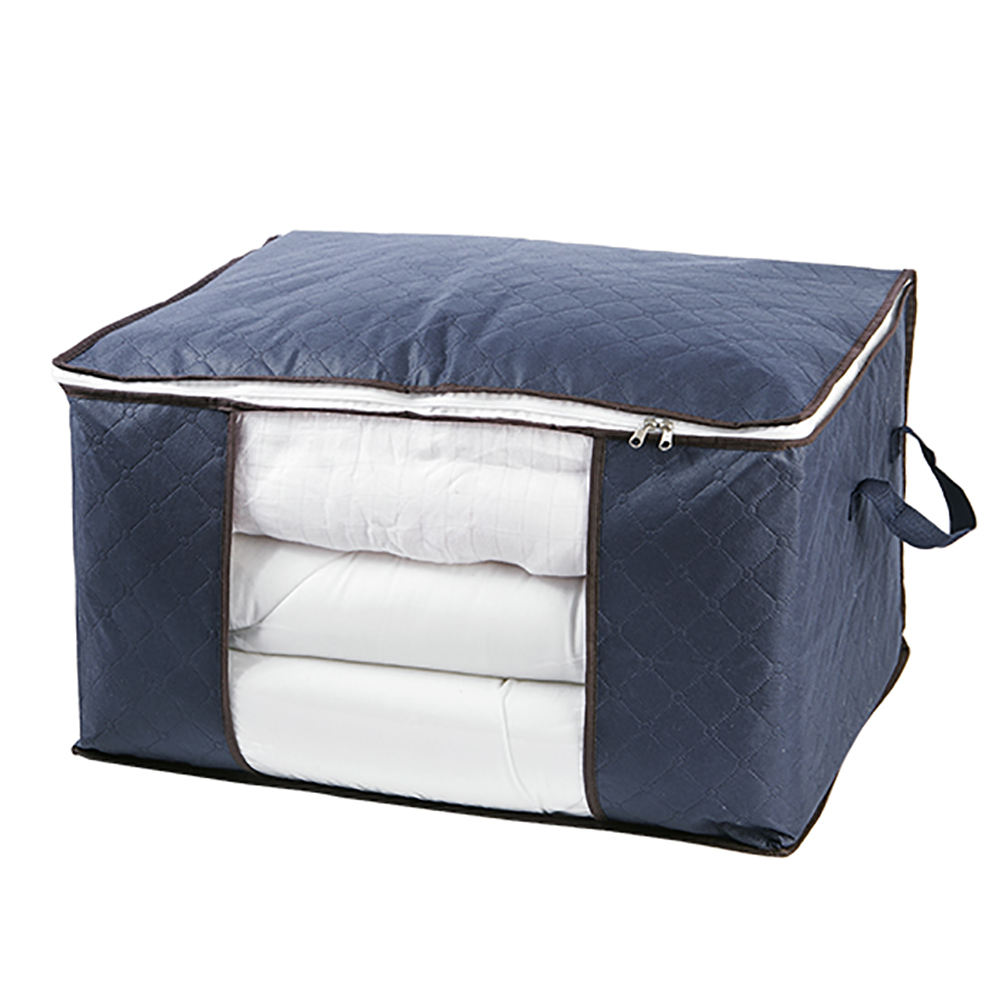 Collapsible Breathable Non woven fabric Dust-proof Blanket Storage Bag with transparent window