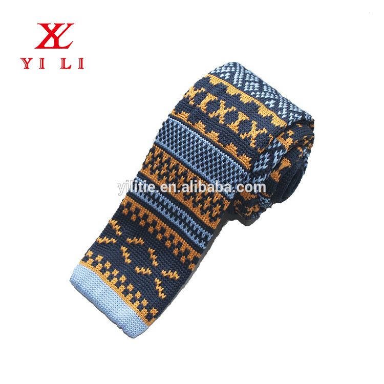 Hot selling cheap elastic polyester skinny mens knitted necktie
