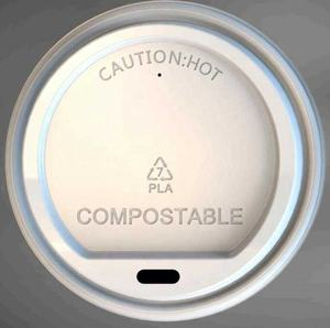 90mm pla compostable coffee or cold cup flat lid