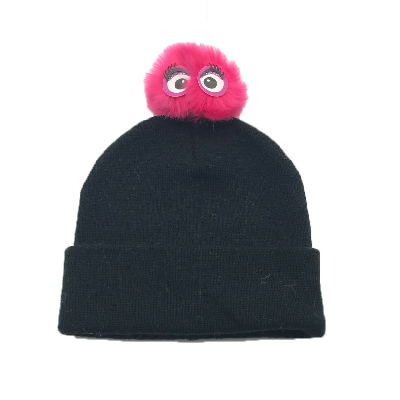 Printed [ Beanie Hat ] Beanie Hat Children's Knitted Beanie Hat With Hair Ball Manufacturers Wholesale