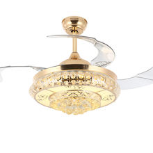 42 Inch High Quality Ceiling Fan Crystal Chandelier with Led Lamp Plastic Remote Retractable Ceiling Fan with Light Bladeless