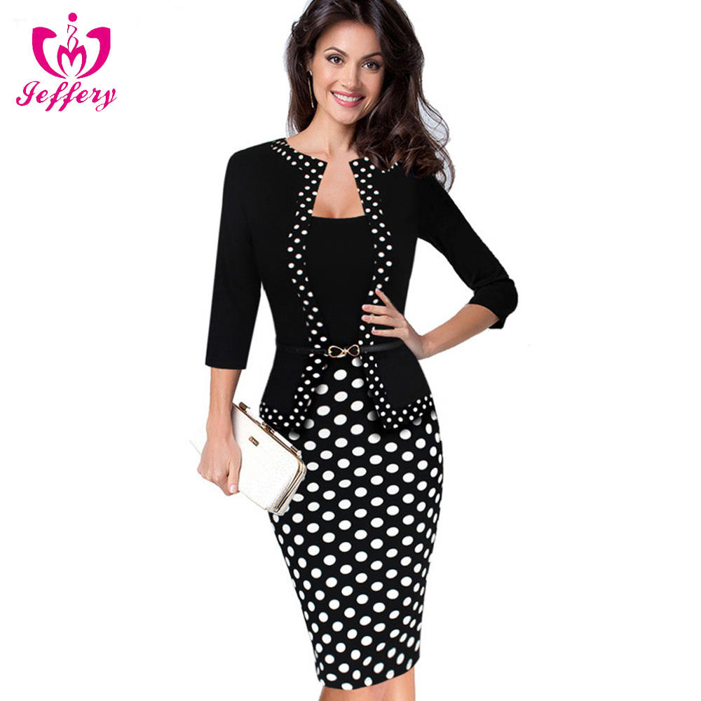 Explosions fake two-piece suit long sleeve pick hip temperament pencil career dress with a belt