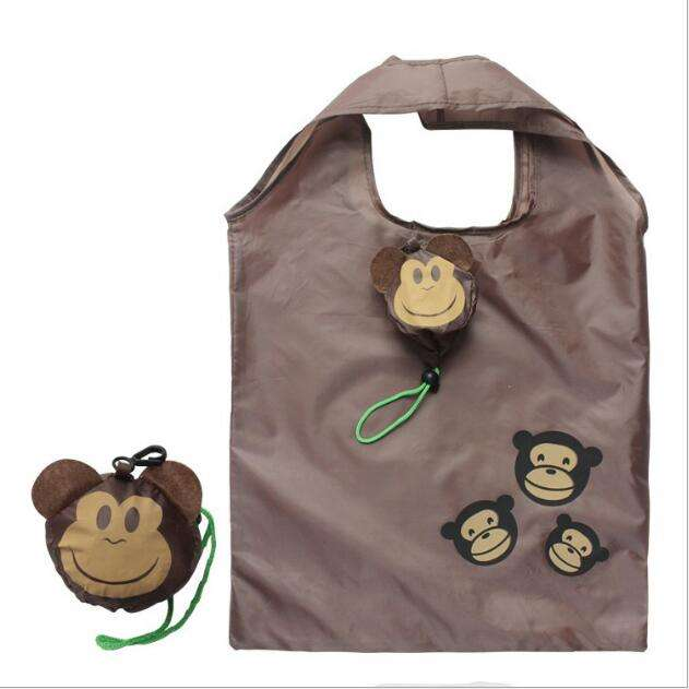 Cute Cartoon Animal Portable Reusable Eco Grocery Monkey Shaped Foldable Shopping Tote Bag