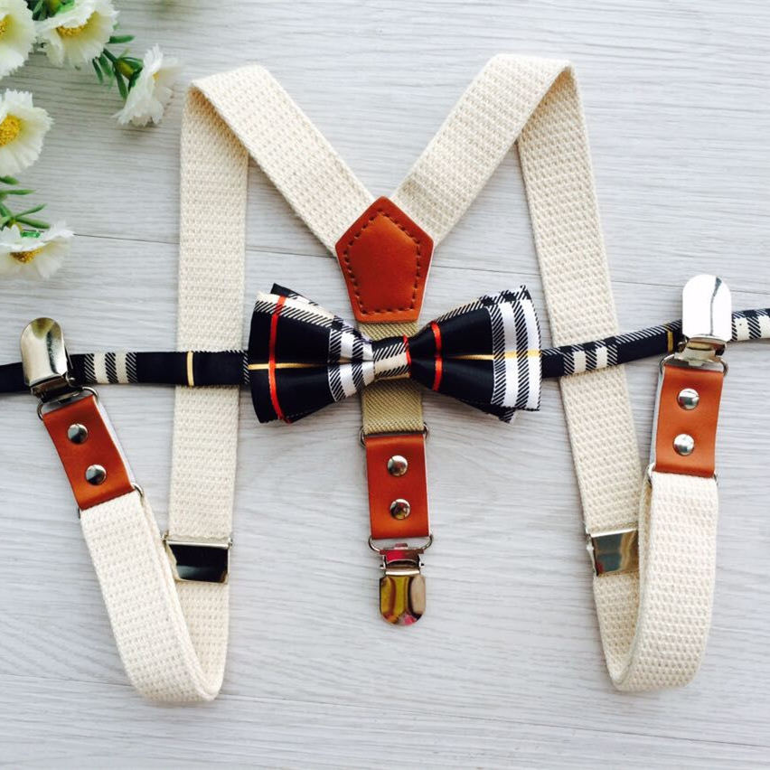 Good quantity small leather design fabric light color with grid bow ties suspender