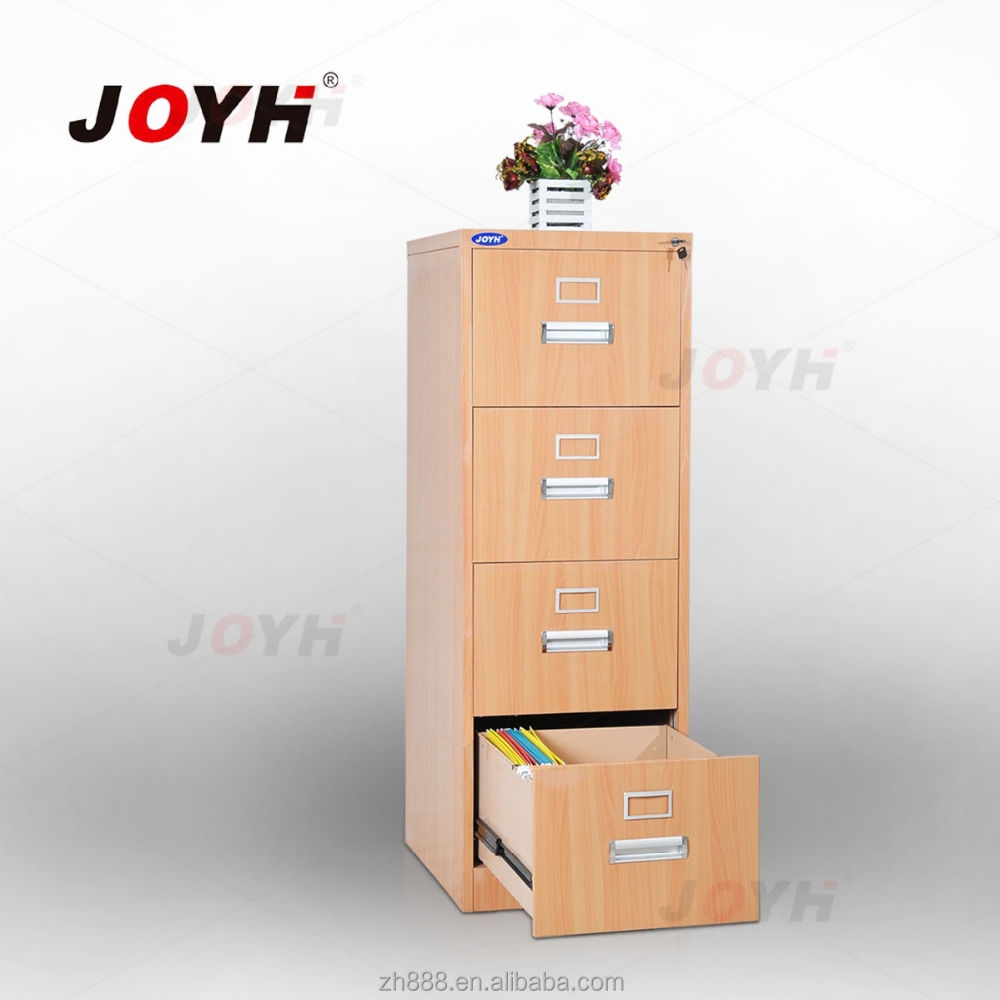 Wood grain 4-drawer filing storage cabinet
