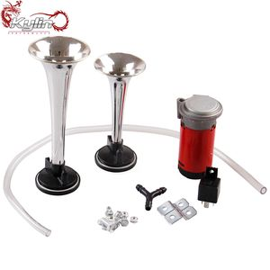 kylin racing Silver or red Loud 12V 135db Car Boat Truck Compressor Twin Trumpet Air pressure Horn