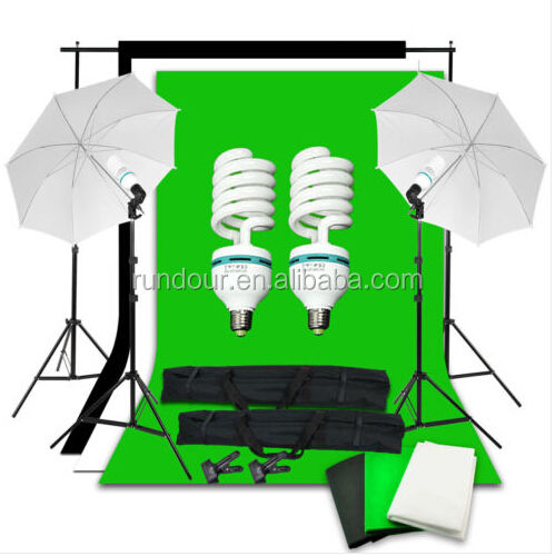 2017 Professional Photography Photo Studio Kits Studio Bulbs Photo Video Equipment with 1.6*3 non-woven fabric backdrop