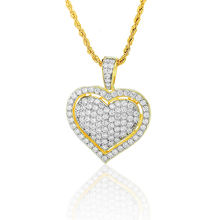 hiphop stylish jewelry crystal cz stone double heart shape hollow pendant