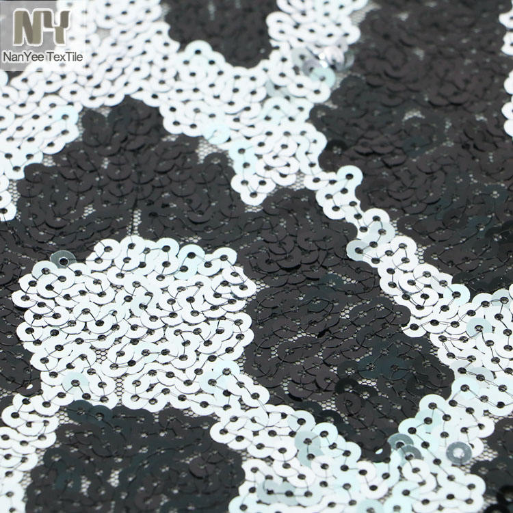 Nanyee Textile 2019 Hot Selling Black Silver Leopard Animal Texture Sequin Fabric