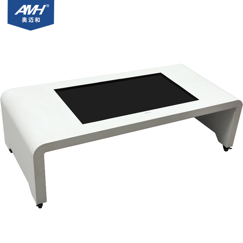 All in one embedded touch screen computer white with table wheels