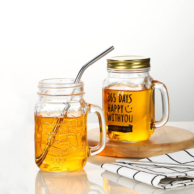 customized glass mason jars 480ml for drinking with handle