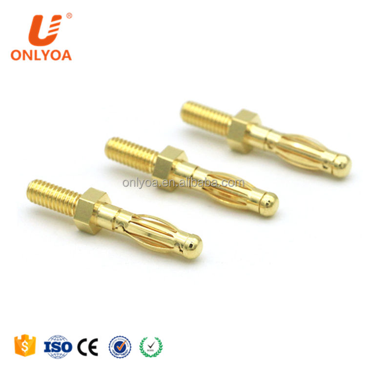 Onlyoa Custom Nickel / Gold Plated Copper 4mm Hexagon Banana Plug With M4 Thread