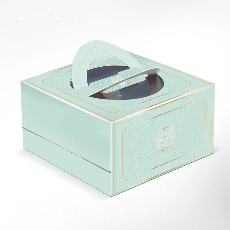 3 Different Sizes Colors One Layer New Pattern Paper Handle Cake Box Food Grade Thick Paper Cake Box