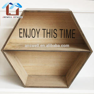Widely Using Wood Floating Home Wall Decoration Hexagon Shelf