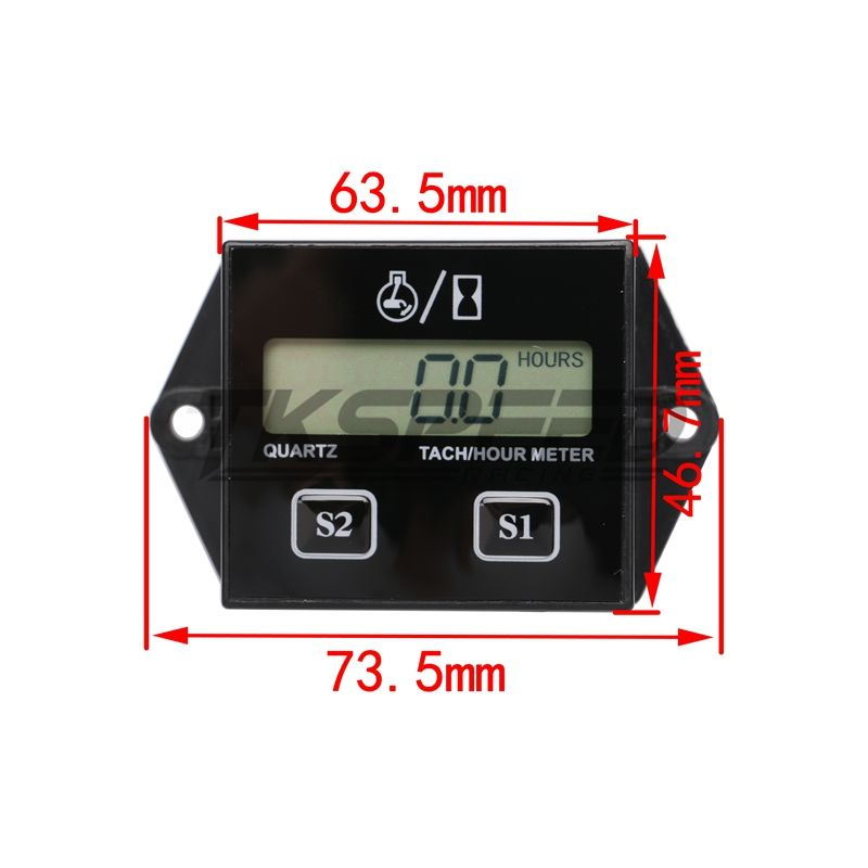 Justech Wireless Digital LCD Display Hour Meter Hourmeter Tool for Motorcycle Car Marine Generator Engine