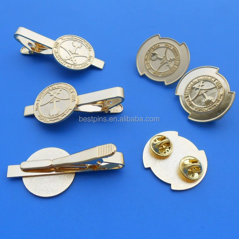 2016 customized gold platinum cufflinks and neck tie pin/tie bar for men