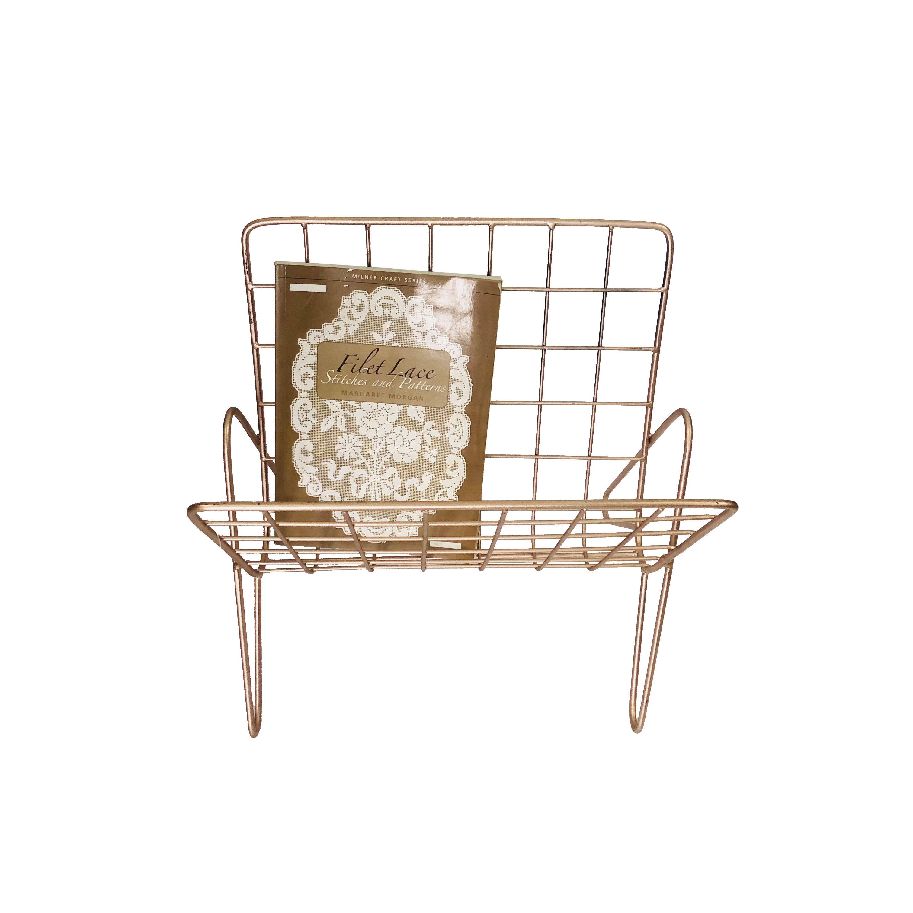 Rose Gold wire metal mesh office home supplies file organizer