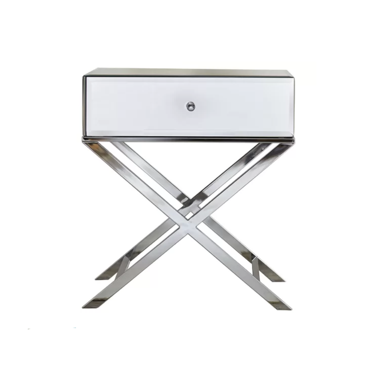 Modern stainless steel silver mirrored glass bedside 1 drawer Nightstand
