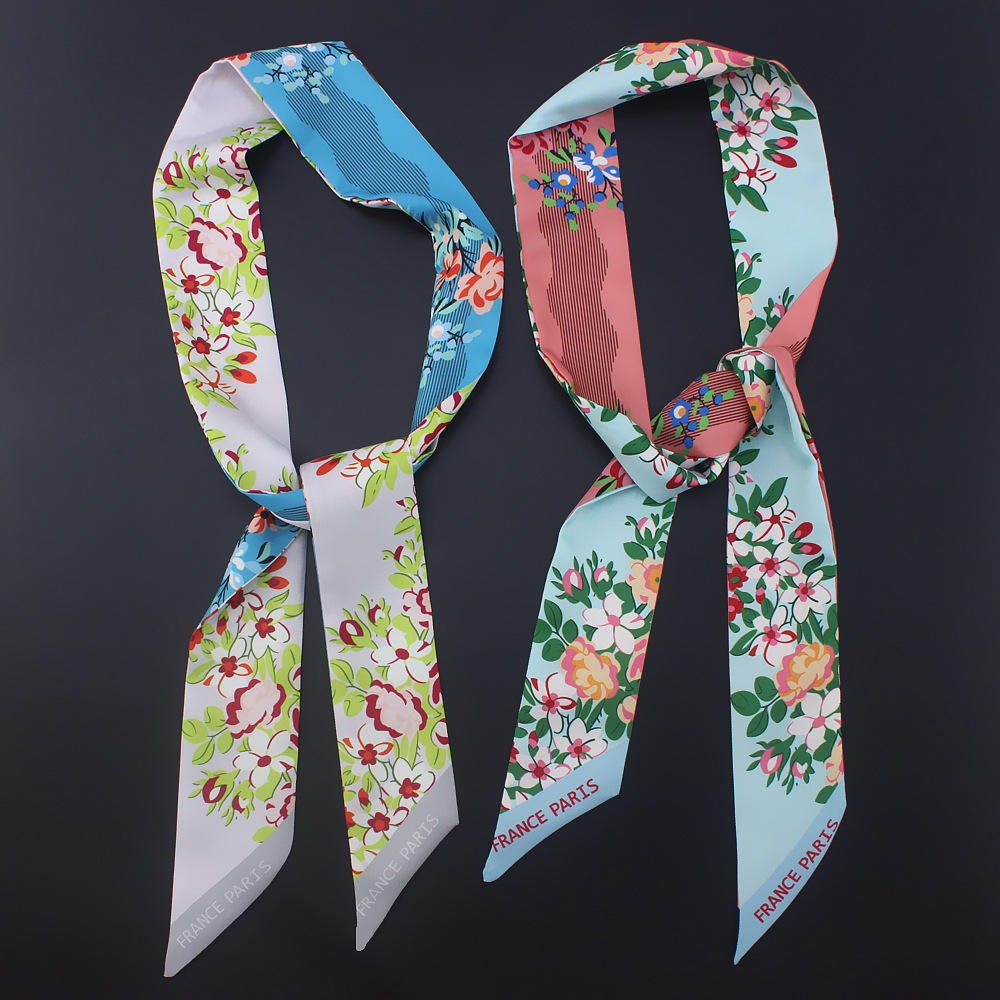Flower Printed Silk Neckerchief Twill Scarf for Women Handbag Handle Ribbon Scarf Headbands Hairbands Scarf Bracelet