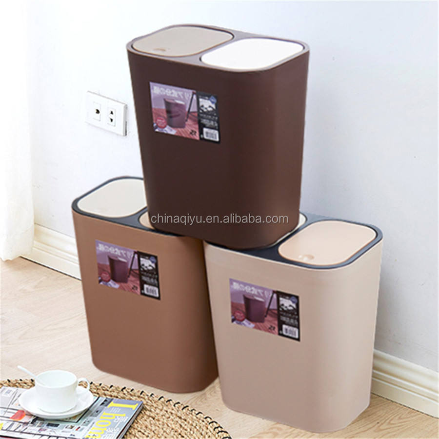 Wholesale 2 compartments eco-friendly plastic trash can