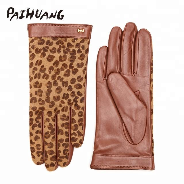 IS50176 Paihuang Ladies hair calf pony leopard leather glove with fashion belt ladies winter gloves