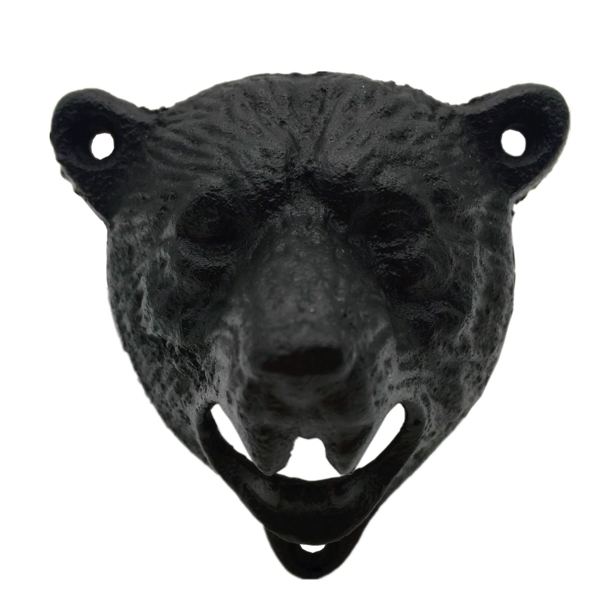 Bear Head Shaped Wall Mounted Bottle Opener Cast Iron Rust Resist Beer Bottle Opener Mounting Screw Included