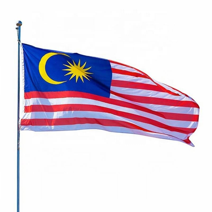 Silk screen printing Malaysia flags with grommet wholesale polyester outdoor national flags custom all countries banner