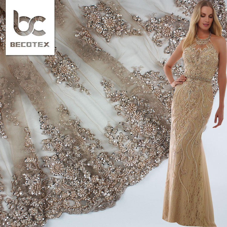 2020 nude color bead pearl lace fabric high quality bridal lace fabric beaded lace fabric