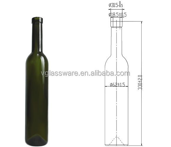 500ml glass ice wine bottle with bottle drawing