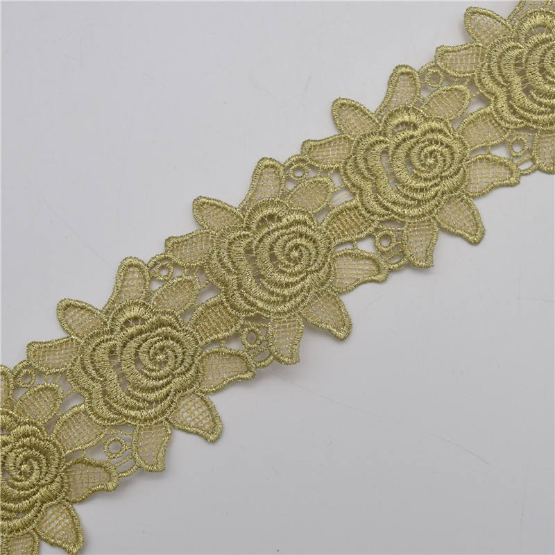 Gold Lace Trims Applique Sewing DIY Crafts embroidered tulle mesh lace trim,gold metallic yarn full dress lace trim