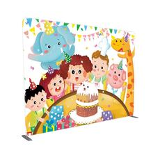 Custom size 8x8 10x8 portable tension fabric birthday party back drop stand wall