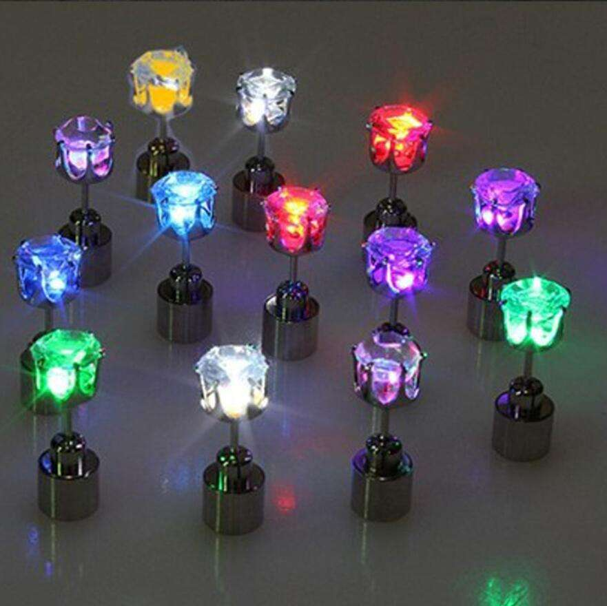 Hot Cool Fashion Unique Design LED Earrings Light Up Bling Ear Studs Dance Party New Year Accessories Women Men