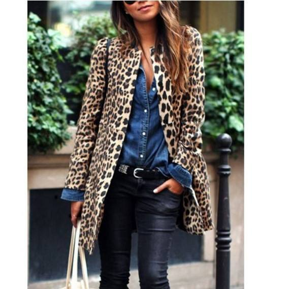 Modern Women Fashion Long Leopard-paint Faux Fur Coat Manufacture Wholesale Fashion Women Apparel