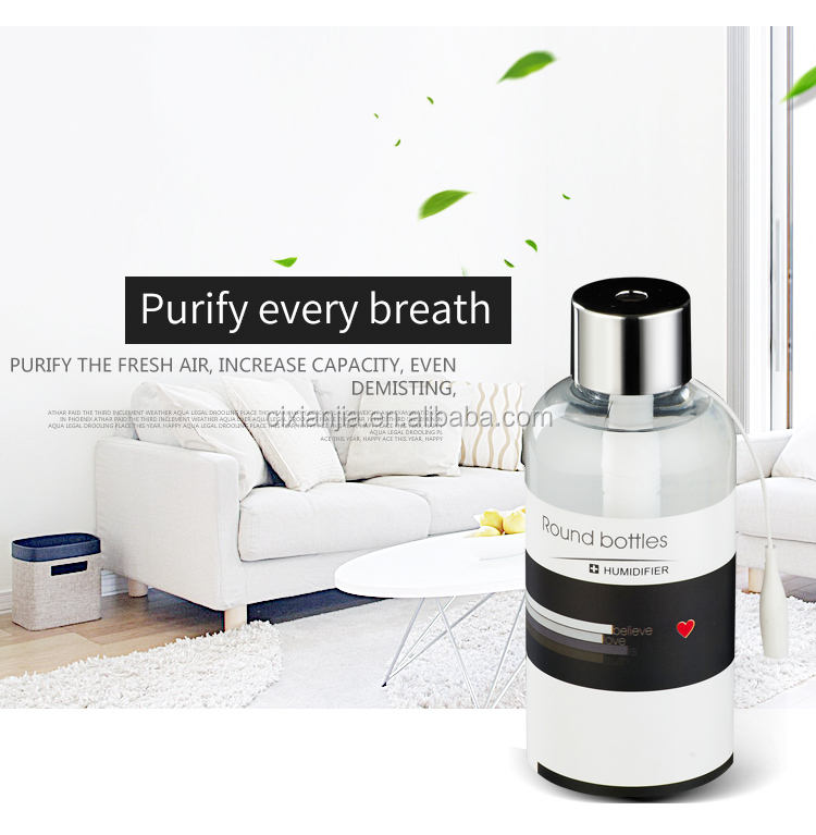 300MLMini Portable Round Bottle Humidifier with USB Cable