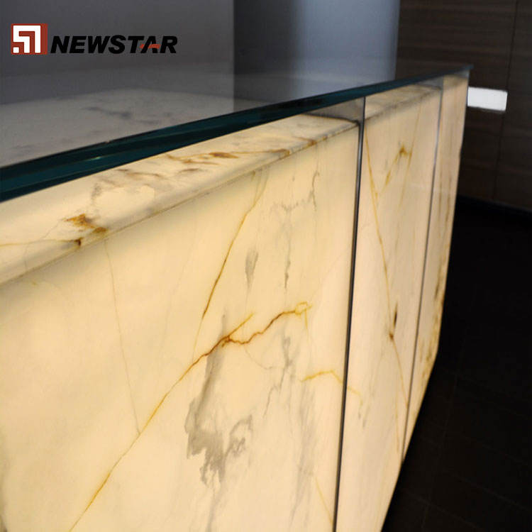 Onyx counter top wall floor tiles backlit white onyx gold veins stone