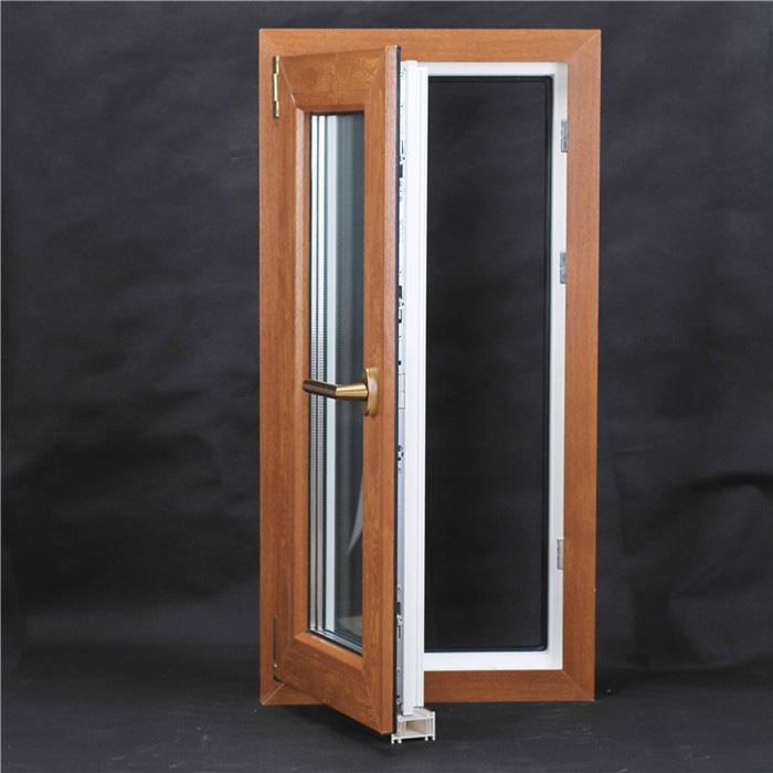 Upvc casement window and door Wood film laminated with doule glasses
