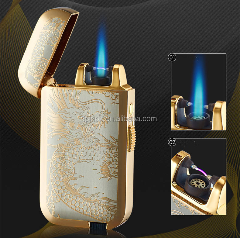 Golden dragon design lighter classic business alloy Material usb lighters by TPINOX