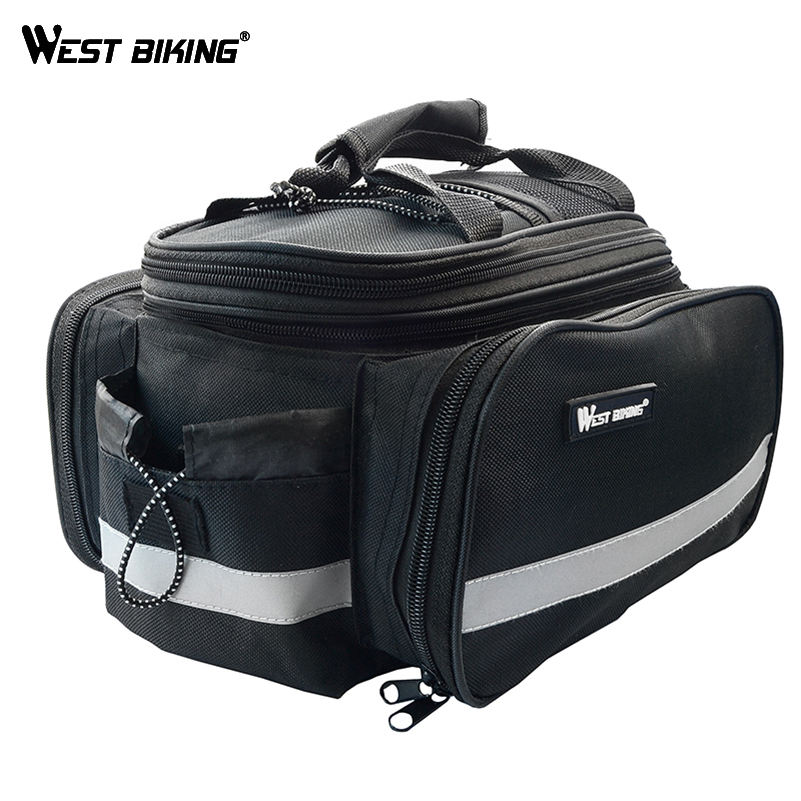 WEST BIKING Cycling BMX Carry Bag+Rain Cover Handlebar Zipped Multifunctional Luggage 10-25L Bags Reflective Bicycle Carrier Bag